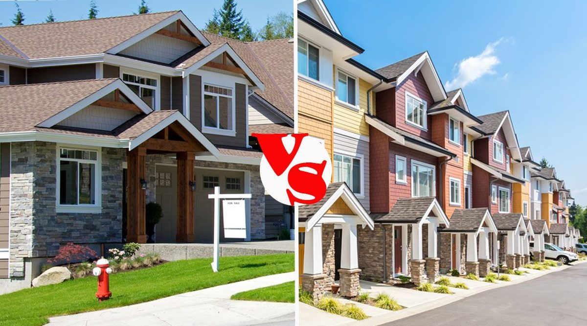What to Know When Considering the Purchase of a  Townhome versus a Detached Home