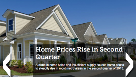 Home Prices Rise in Nearly All Metro Areas in Second Quarter
